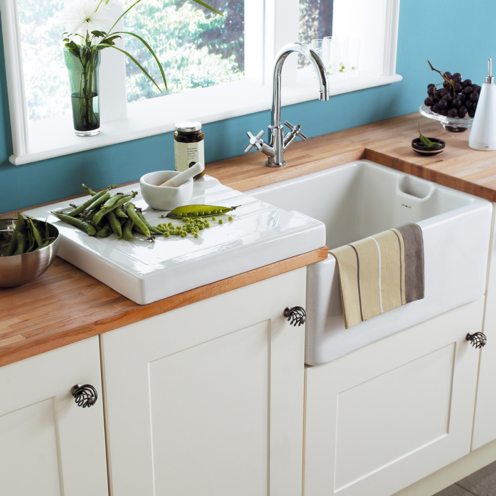 Ceramic Kitchen Sink With Drainer : Astracast Belfast Gloss White Ceramic Kitchen Sink Butler Drainer ...