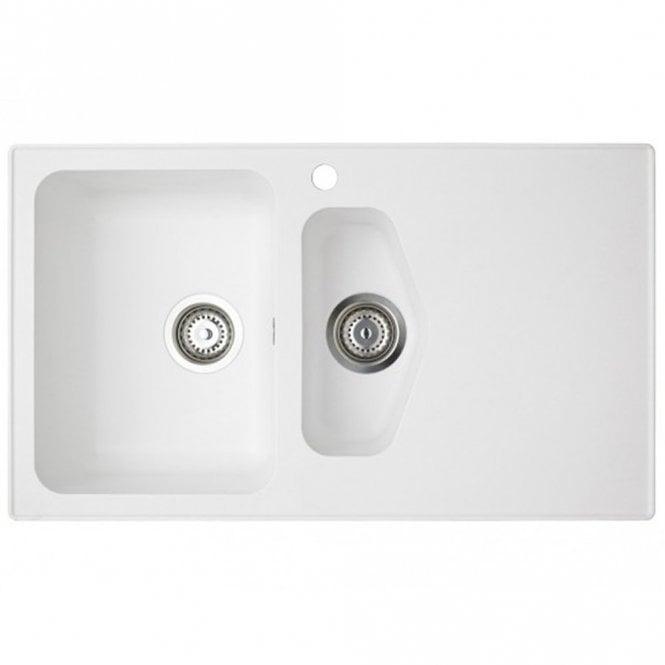Astracast Dart 1.5 Bowl ROK Granite Opal White Kitchen Sink & Waste ...