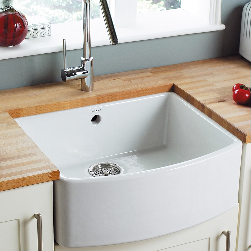 Ceramic Kitchen Sink : ... Bowl Gloss White Ceramic Kitchen Sink & Waste ED10WHHOMESK