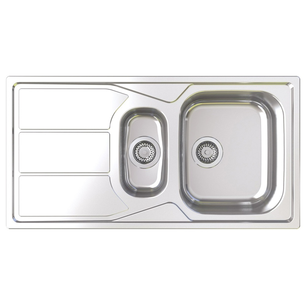 elan 1 5 bowl polished stainless steel kitchen sink en15xxhomesk
