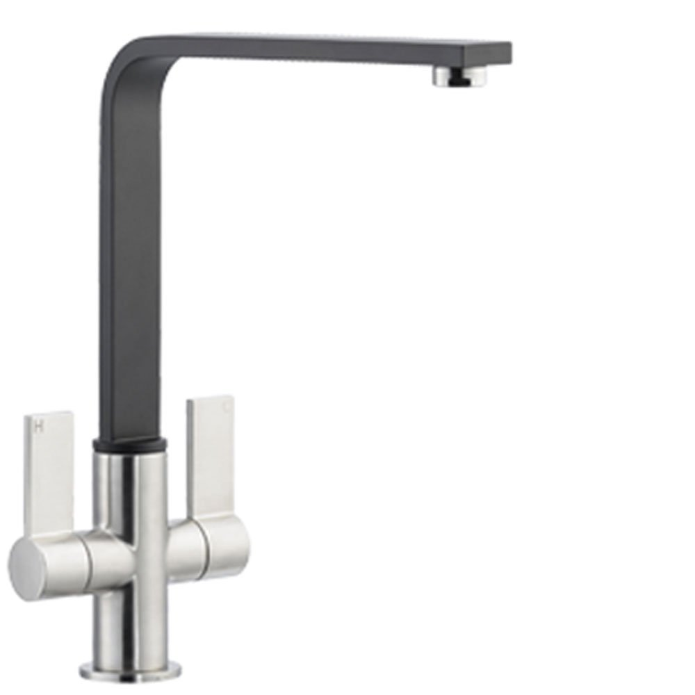 Black Kitchen Sink And Taps Astracast Enzo Twin Lever Brushed Black Kitchen Sink Mixer Tap