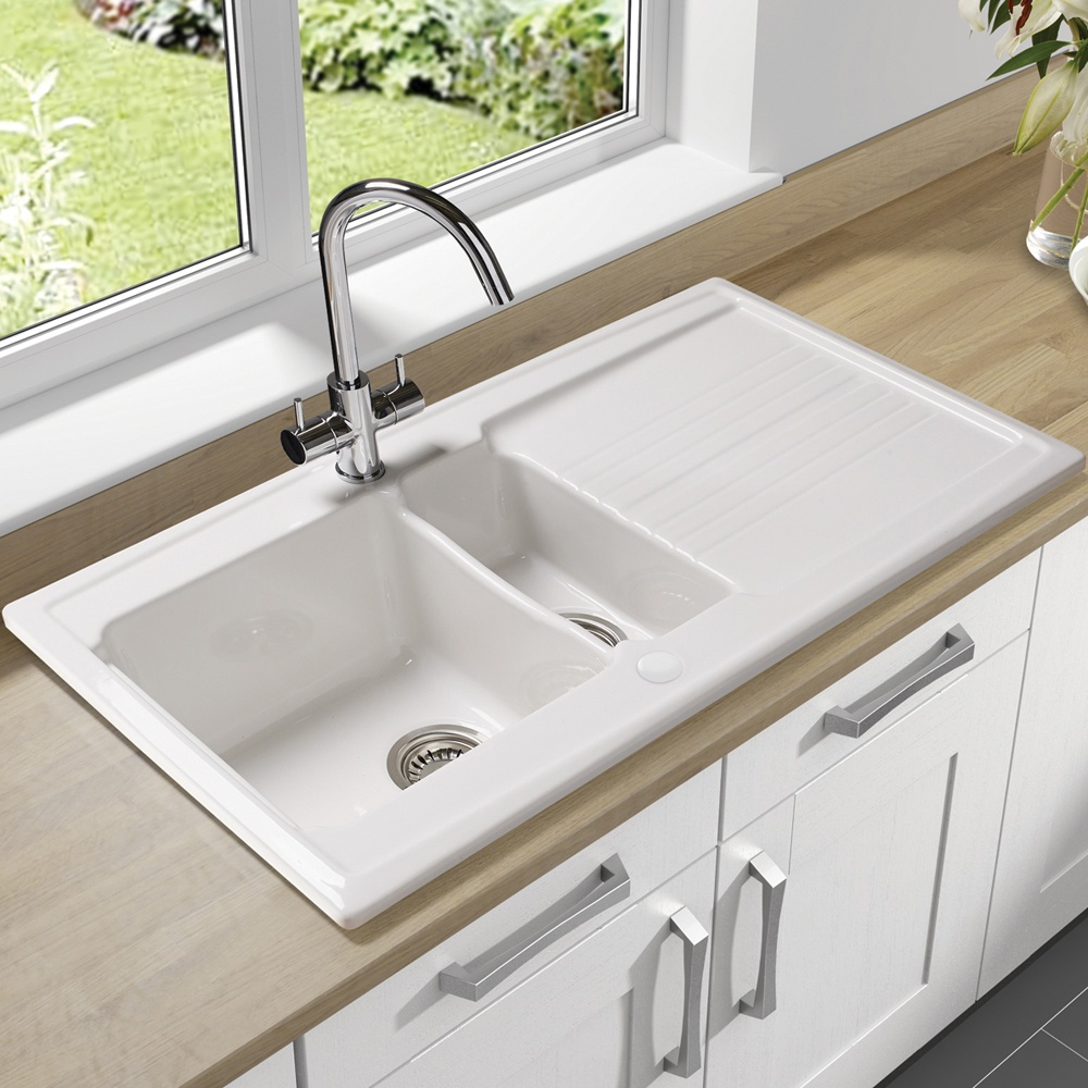 Http Www Tapsuk Com Astracast Equinox 15 Bowl Gloss White Ceramic Kitchen Sink Eq15whhomesk P1356