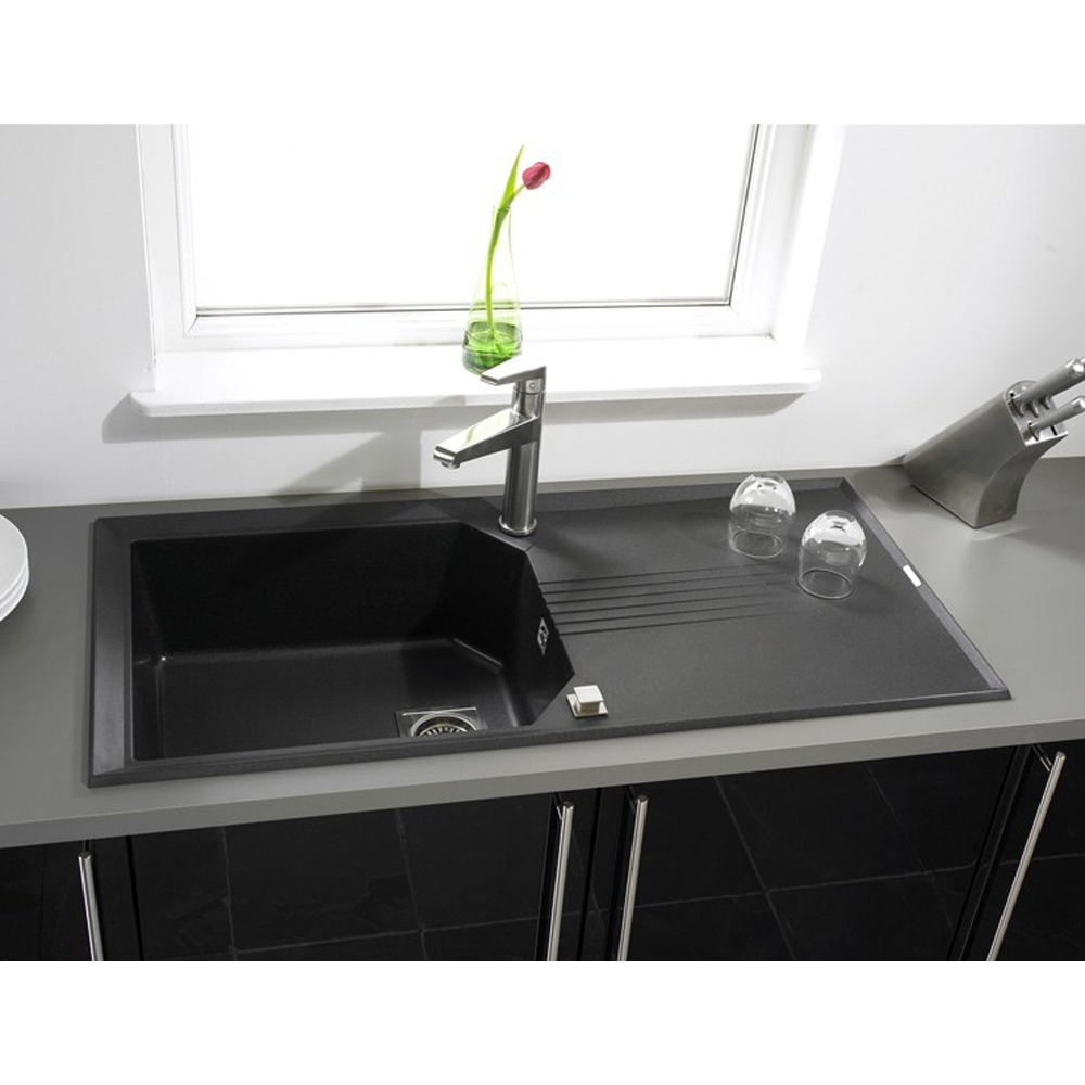 Black Kitchen Sink And Taps Astracast Helix Compact 10 Bowl Rok Metallic Granite Volcano