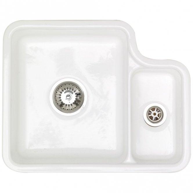 Astracast Lincoln 1.5 Bowl Gloss White Ceramic Undermount Kitchen Sink RHSB  LN15WHHOMESK