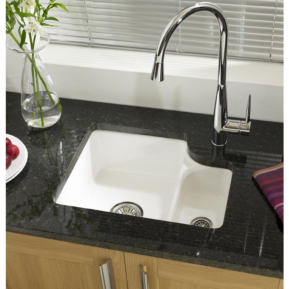 ... Astracast Lincoln 1.5 Bowl Gloss White Ceramic Undermount Kitchen Sink  RHSB LN15WHHOMESK ...