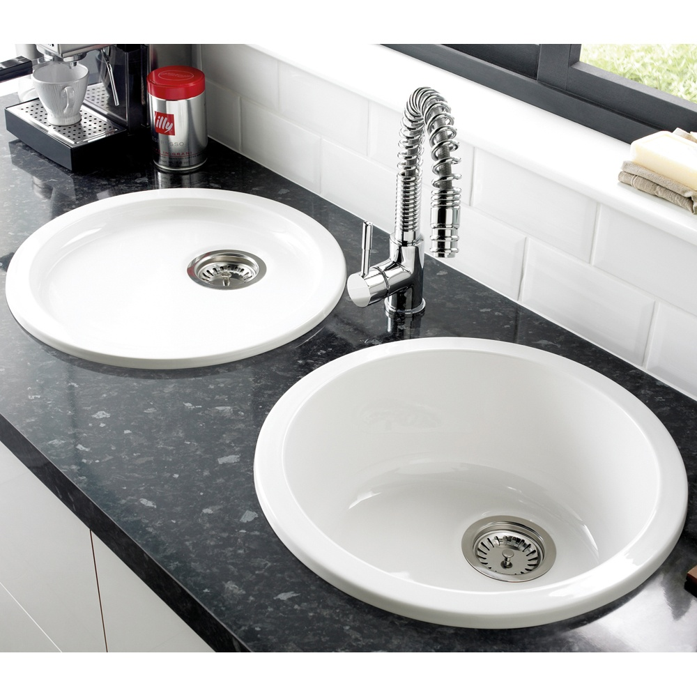 astracast lincoln 40r1 10 bowl round gloss white ceramic kitchen sink lnr1whhomesk - Kitchen Sink Round