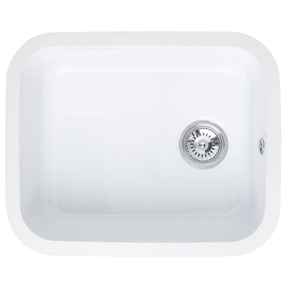 ... 5040 1.0 Bowl Gloss White Ceramic Undermount Kitchen Sink LNS3WHHOMESK