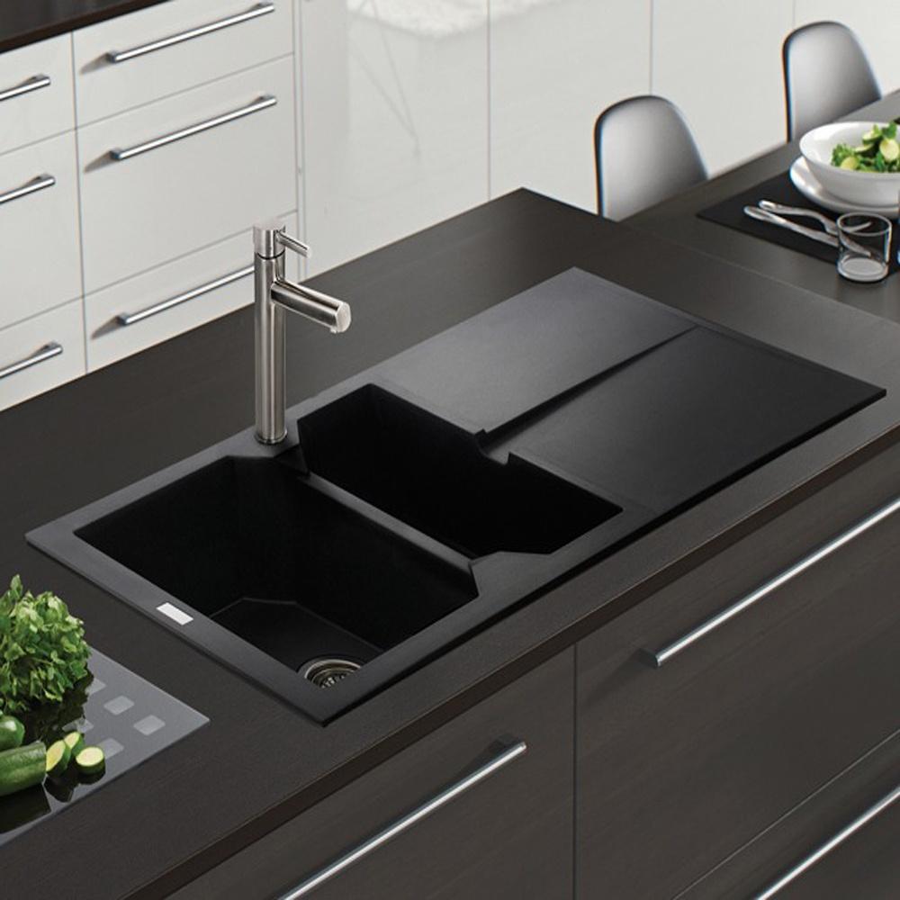 Black kitchen sinks and taps -  Astracast Razor 1 5 Bowl Rok Metallic Granite Volcano Black Kitchen Sink Waste