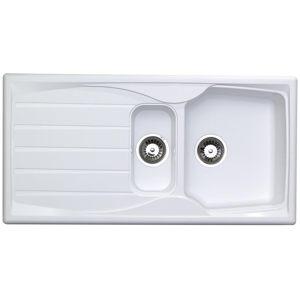 Astracast Sierra 1 5 Bowl Teflite Plastic White Reversible Kitchen Sink Waste