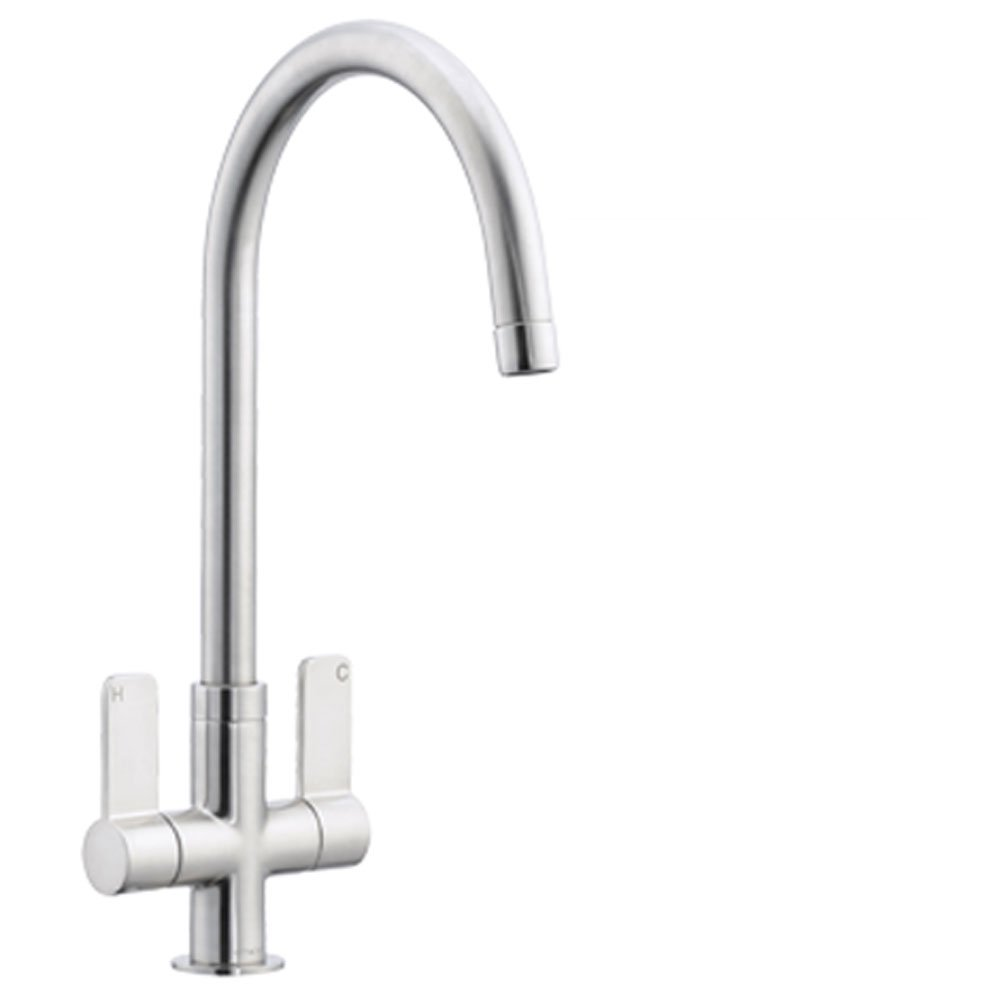 Astracast Stylus Twin Lever Brushed Kitchen Sink Mixer Tap TP - Kitchen sink taps uk