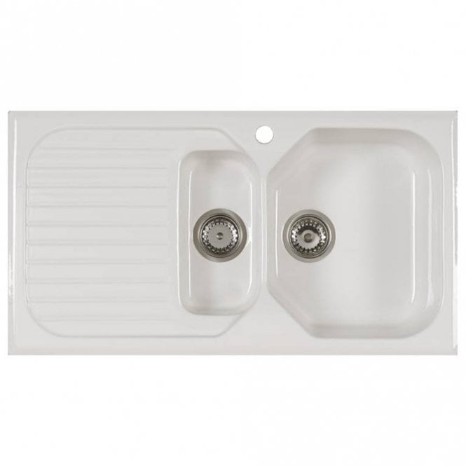 Astracast Swale 1.5 Bowl Gloss White Ceramic Kitchen Sink LHD ...