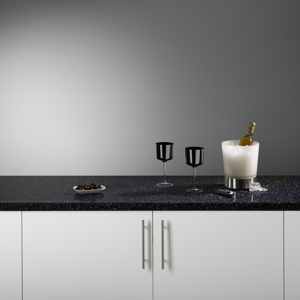 White Laminate Kitchen Worktops Bushboard Odyssey 3000x600x38mm Strass Noir Metallic Gloss