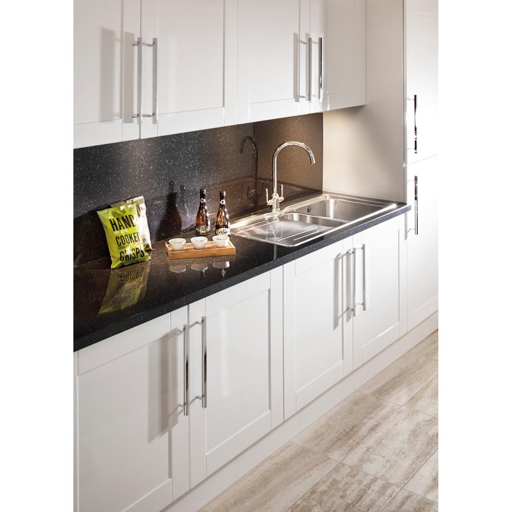 Black Splashback Kitchen Bushboard Omega 1500 X 1200 X 8mm Metallic Gloss Black Quartz