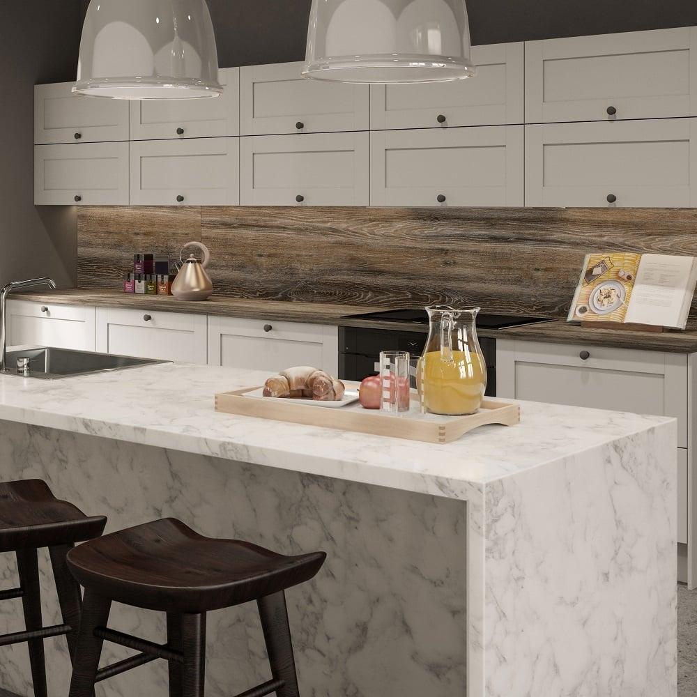 Bushboard Options 4100x665x38mm Ultramatt Turin Marble Kitchen Breakfast Bar Kitchen From Taps Uk