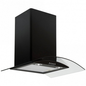 Caple Black 60cm Stainless Steel Glass Cooker Hood