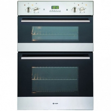 Caple Classic Stainless Steel And Black Glass Electric Double Oven C3244