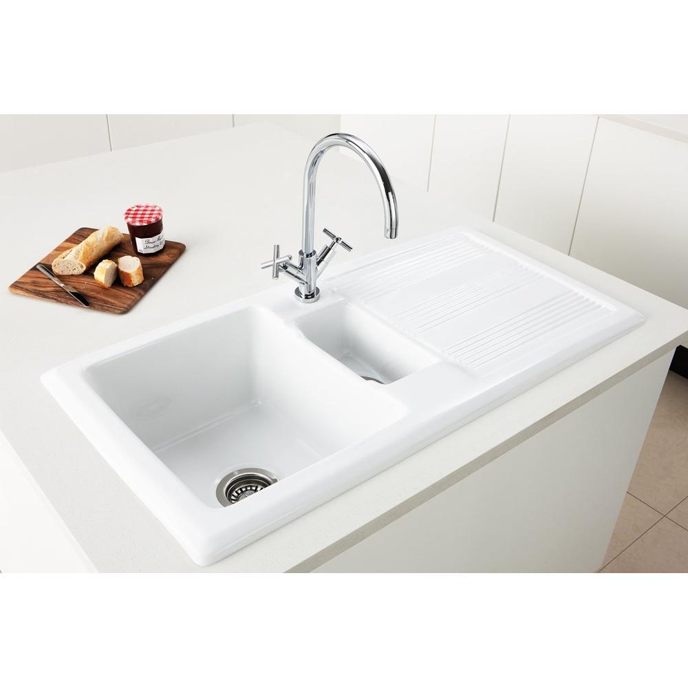 Caple Colorado 15 Bowl White Ceramic Kitchen Sink Co150 P25772 Image.