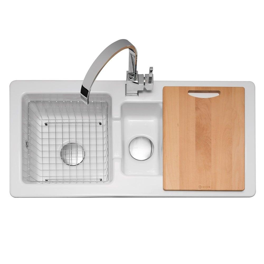 Caple Foxboro 150 1 5 Bowl White Ceramic Kitchen Sink Fox150 Kitchen From Taps Uk