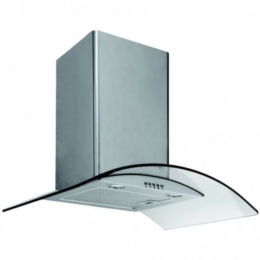 Caple Stainless Steel Wall Chimney Hood With Curved Clear Glass CGC700SS