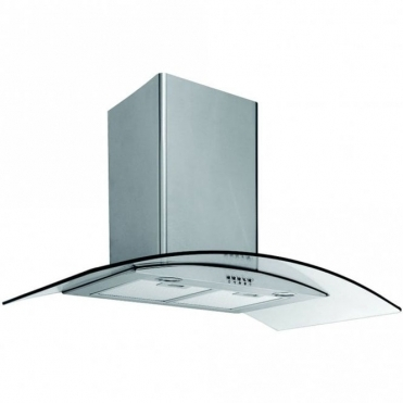 Caple Stainless Steel Wall Chimney Hood With Curved Clear Glass CGC910SS
