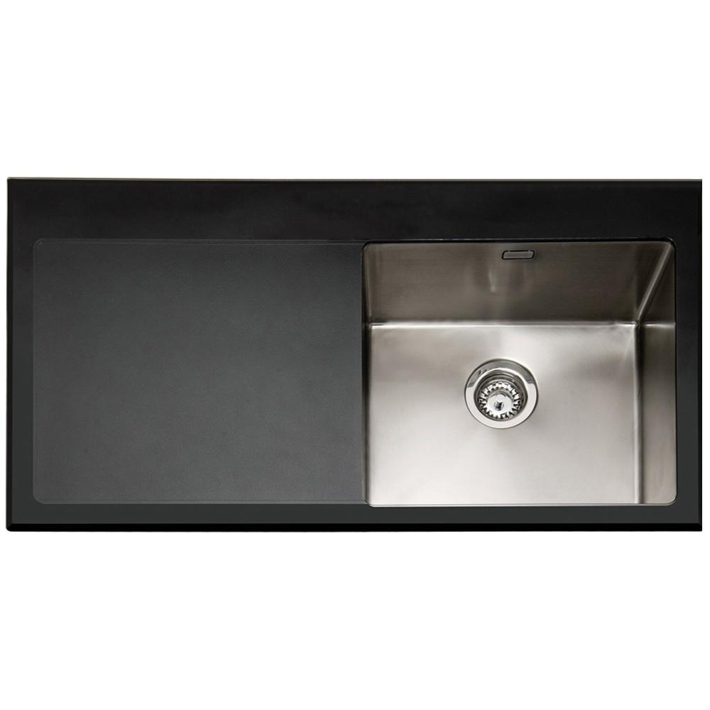 Caple Vitrea 100 1 0 Bowl Black Glass Stainless Steel Kitchen Sink Lhd Vt100bk L