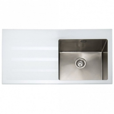 Caple Vitrea 100 1.0 Bowl White Glass & Stainless Steel Kitchen Sink LHD VT100WH/L