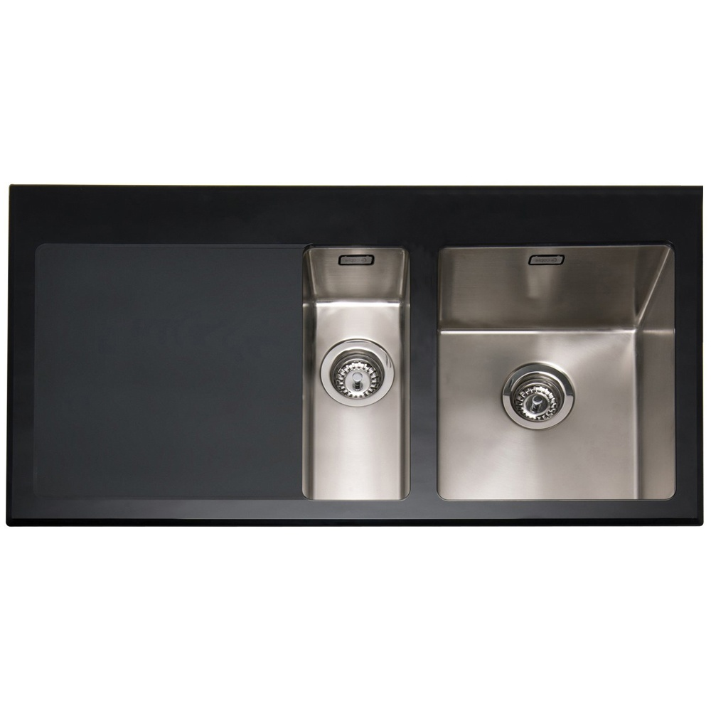 Caple Vitrea 150 1 5 Bowl Black Glass & Stainless Steel