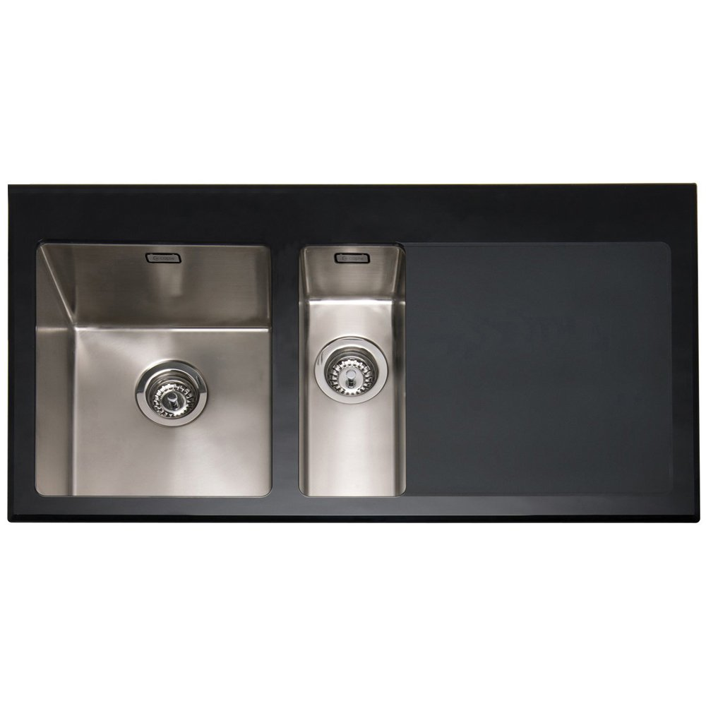 ... 150 1.5 Bowl Black Glass & Stainless Steel Kitchen Sink RHD VT150BK-R