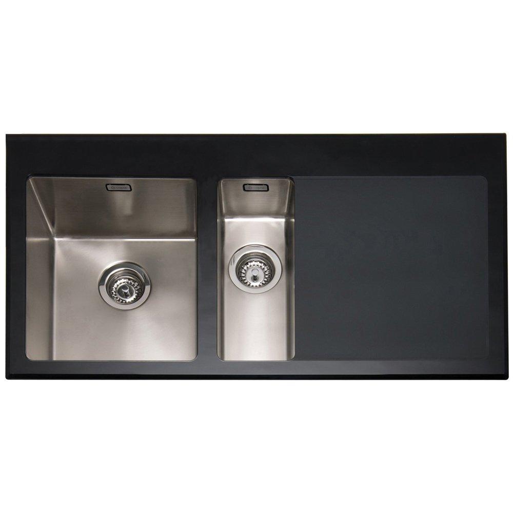 caple vitrea 150 15 bowl black glass stainless steel kitchen sink rhd - Glass Sink Kitchen