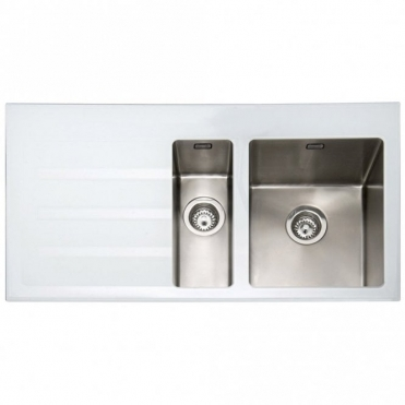 Caple Vitrea 150 1.5 Bowl White Glass & Stainless Steel Kitchen Sink LHD VT150WH/L
