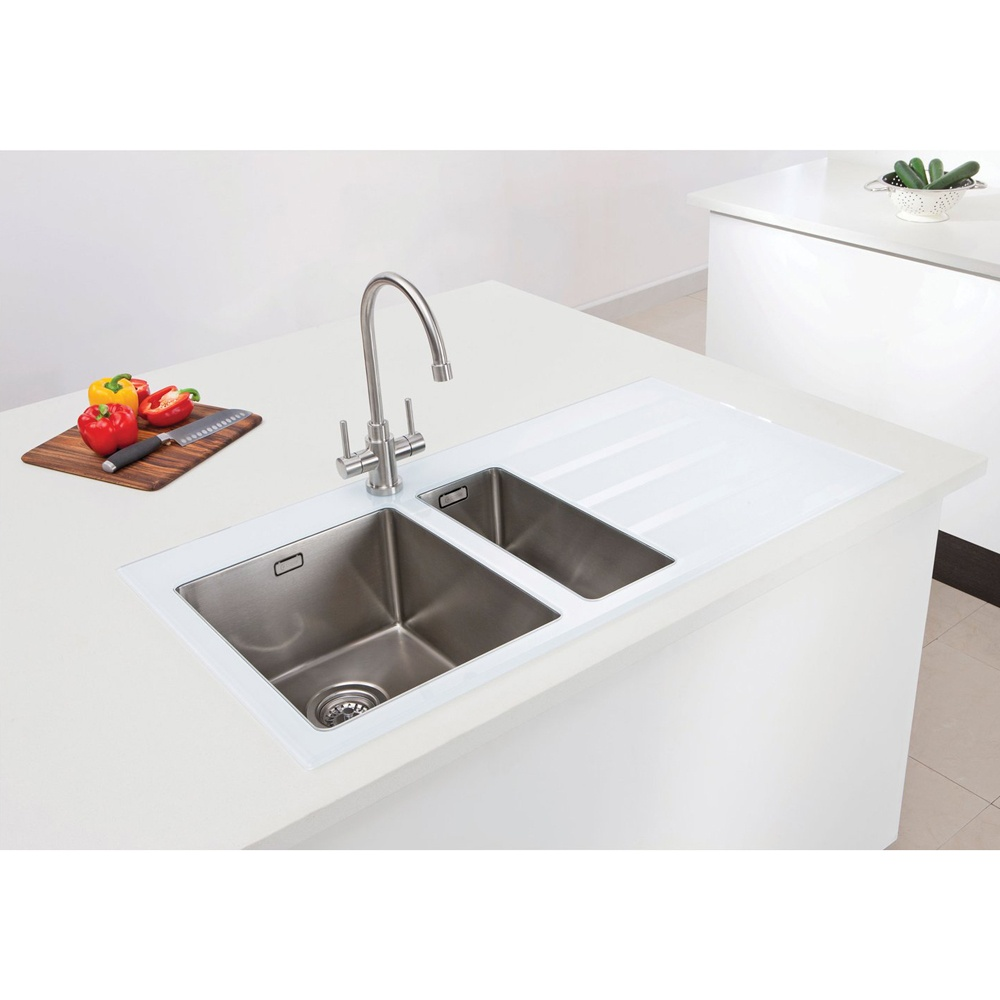 caple vitrea 150 15 bowl white glass stainless steel kitchen sink rhd vt150whr - Glass Sink Kitchen