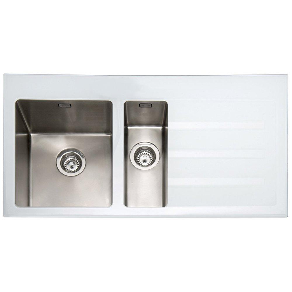 caple vitrea 150 15 bowl white glass stainless steel kitchen sink rhd vt150whr. beautiful ideas. Home Design Ideas