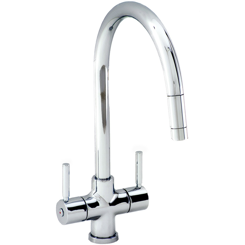 Carron Phoenix Averon Twin Lever Pullout Brushed Nickel Kitchen Sink