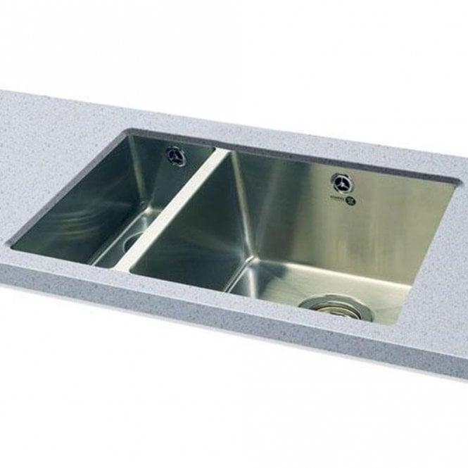 Carron Phoenix Deca 150 1.5 Polished Stainless Steel Undermount Kitchen Sink  U0026 Waste LHSB 122.0155.