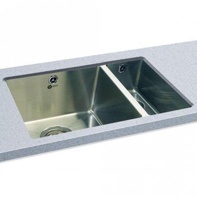 Carron Phoenix Deca 150 1.5 Polished Stainless Steel Undermount Kitchen Sink  U0026 Waste RHSB 122.0155.