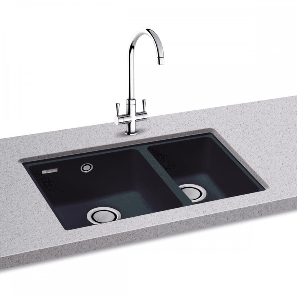 Carron Phoenix Fiji 150 1 5 Bowl Granite Jet Black Undermount Sink Waste Kitchen From Taps Uk