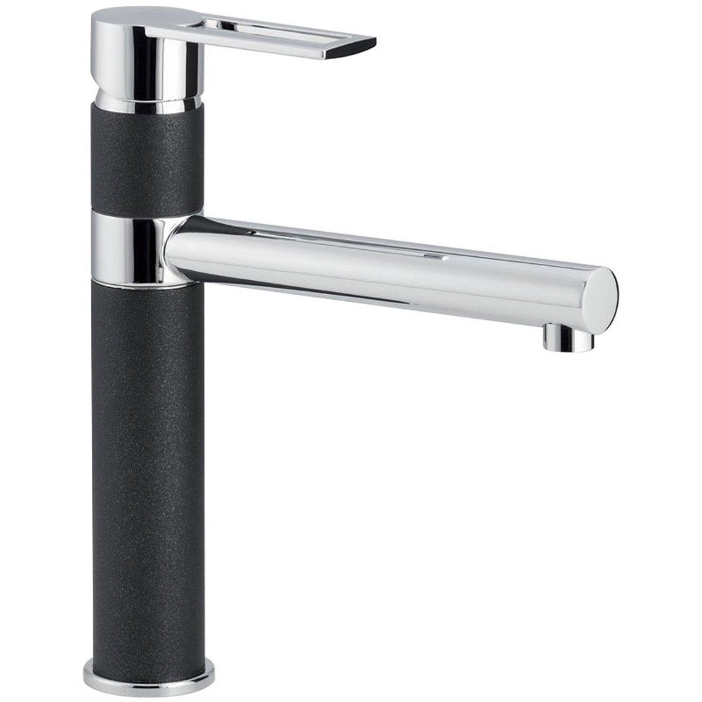 carron phoenix reno single lever jet black chrome kitchen sink tap 2t1030 - White Kitchen Sink Taps