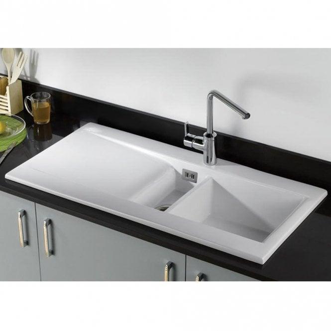 Carron Phoenix Sapphira 150 Ceramic White Kitchen Sink 124.0188.022