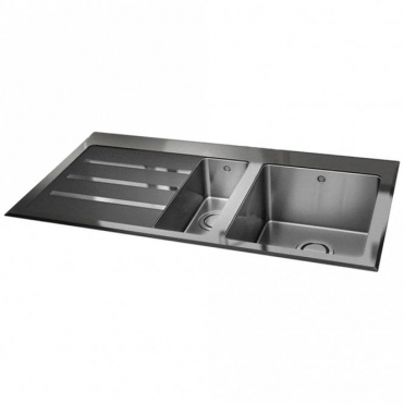 Carron Phoenix Silhouette 150 1.5 Bowl Glass & Stainless Steel Kitchen Sink LHD 101.0255.760