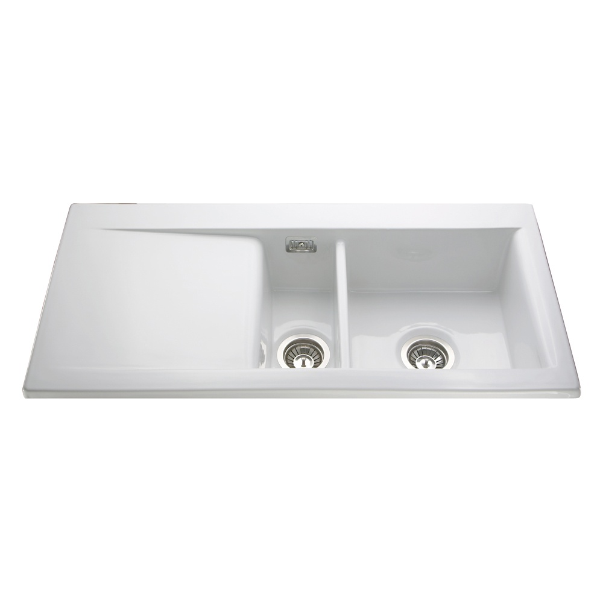Pleasant Cda 1 5 Bowl White Ceramic Reversible Kitchen Sink Waste Interior Design Ideas Inamawefileorg