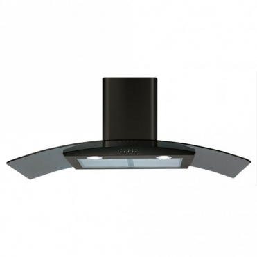 CDA 100cm Curved Glass Extractor Hood - Black ECP102BL