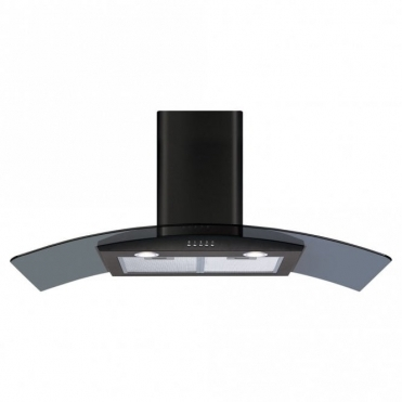 CDA 110cm Curved Glass Extractor Hood - Black ECP112BL
