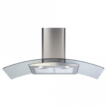 CDA 110cm Curved Glass Extractor Hood - Stainless Steel ECP112SS
