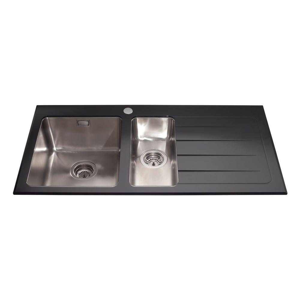 Cda 1 5 Bowl Black Glass Stainless Steel Kitchen Sink Rhd