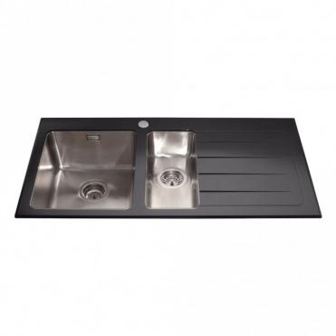 cda 15 bowl glass stainless steel kitchen sink waste rhd - Glass Sink Kitchen