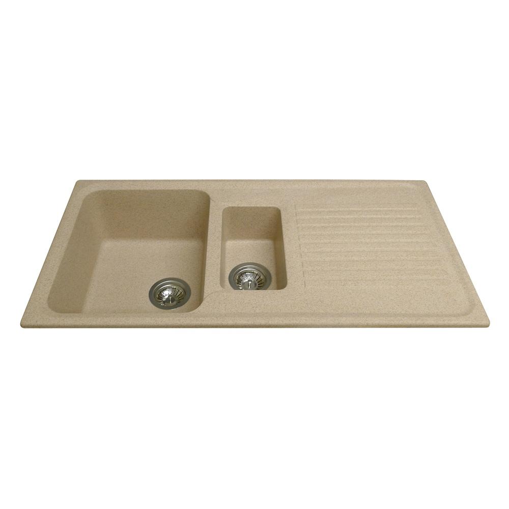 CDA 1.5 Bowl Granite Sandstone Beige Kitchen Sink & Waste KG42ST - CDA ...