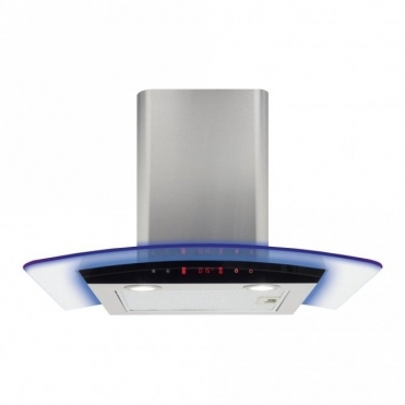 CDA 60cm Curved Glass Extractor Hood With Edge Lighting - Stainless Steel EKP60SS