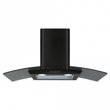 CDA 80cm Curved Glass Extractor Hood - Black ECP82BL