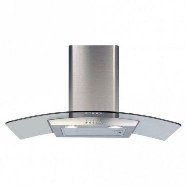 CDA 80cm Curved Glass Extractor Hood - Stainless Steel ECP82SS