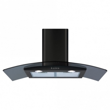 CDA 90cm Curved Glass Extractor Hood - Black ECP92BL